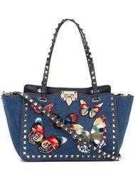 маленькая трапециевидная сумка-тоут 'Rockstud' с бабочками Valentino