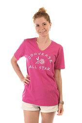 Футболка женская Converse Awt Cas Rose Fem Vneck Tee Pink