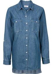 Джинсовая рубашка длинного покроя (нежно-голубой) Bonprix