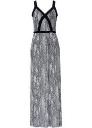 Трикотажное макси-платье с принтом (белый/темно-синий) Bonprix