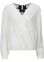 Блузка с кружевной вставкой (черный) Bonprix