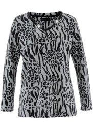 Флисовый пуловер (цвет белой шерсти/черный с рис) Bonprix