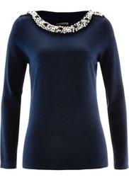 Пуловер с бусинками (черный) Bonprix
