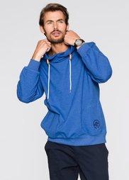 Свитшот Regular Fit с капюшоном (синий меланж) Bonprix