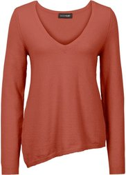 Пуловер с асимметричным низом (черный) Bonprix