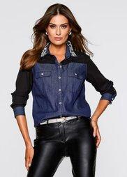 Блузка с аппликацией (черный/синий «потертый») Bonprix