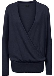 Пуловер с эффектом запаха (светло-серый меланж) Bonprix