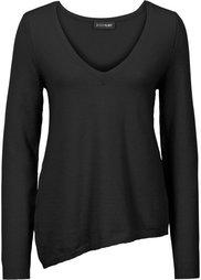 Пуловер с асимметричным низом (цвет белой шерсти) Bonprix