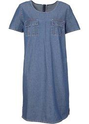 Джинсовое платье с коротким рукавом (голубой выбеленный) Bonprix