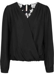 Блузка с кружевной вставкой (белый/черный) Bonprix