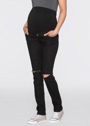 Для будущих мам: джинсы с потертыми эффектами и узкими брючинами (черный деним) Bonprix