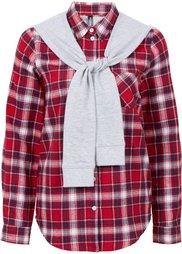 Фланелевая рубашка с трикотажными рукавами (синий/медовый в клетку) Bonprix