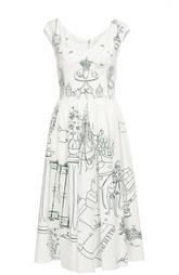 Приталенное платье с контрастным принтом и V-образным вырезом Dolce & Gabbana
