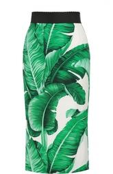 Юбка-карандаш с контрастным поясом и цветочным принтом Dolce & Gabbana