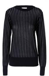 Шерстяной пуловер в контрастную полоску DKNY