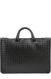 Кожаный портфель с плетением  intrecciato Bottega Veneta