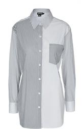 Удлиненная блуза в полоску с накладным карманом DKNY