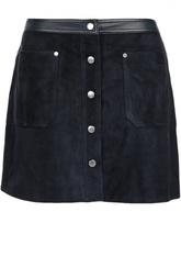 Замшевая мини-юбка с кожаной отделкой и накладными карманами Rag&Bone Rag&;Bone