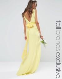 Атласное платье макси с бантом на спине TFNC Tall WEDDING - Лимонный