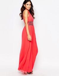 Платье-халтер макси с декоративной отделкой Little Mistress - Красный