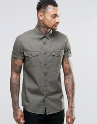 ASOS Khaki Twill Shirt With 2 Pockets And Heavy Wash In Regular Fit