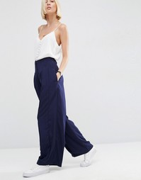 ASOS WHITE Pleat Front Wide Leg Trousers - Темно-синий