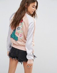 Young Bohemians Bomber Jacket With Delicate Floral Embroidery - Мульти
