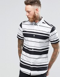 ASOS Striped Shirt In Monochrome In Regular Fit - Белый