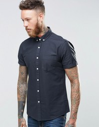 ASOS Oxford Shirt In Navy With Short Sleeves In Regular Fit