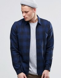 ASOS Check Zip Up Shirt In Navy With Long Sleeves In Regular Fit