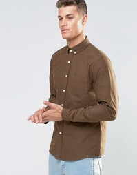 ASOS Oxford Shirt In Khaki With Long Sleeves In Regular FIt - Хаки