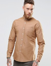 ASOS Oxford Shirt In Tan With Long Sleeves In Regular Fit - Рыжий