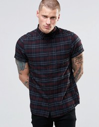 ASOS Check Shirt With Pigment Dye In Short Sleeve In Regular Fit