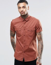 ASOS Rust Twill Shirt With 2 Pockets And Heavy Wash In Regular Fit