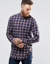 ASOS Longline Check Shirt In Navy With Grandad Collar In Regular Fit