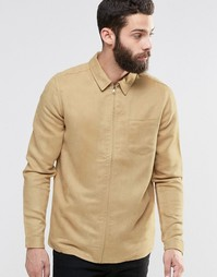 ASOS Suedette Zip-Up Shirt In Stone With Long Sleeves In Regular Fit