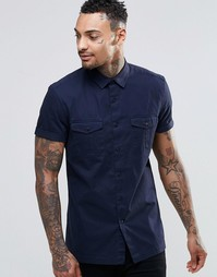 ASOS MilitaryShirt In Navy With Short Sleeves In Regular Fit