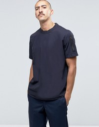 ASOS Short Sleeve Military Woven T-Shirt With Sleeve Pocket In Navy In