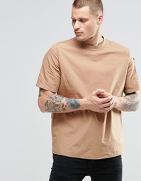 ASOS Short Sleeve Military Woven T-Shirt With Sleeve Pocket In Camel I