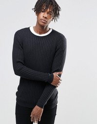 ASOS Muscle Fit Ribbed Jumper in Merino Wool Mix - Черный