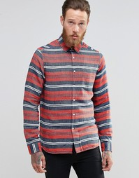 ASOS Long Sleeve Multi Stripe Shirt In Red In Regular Fit - Красный