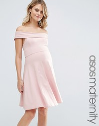 ASOS Maternity Bardot Mini Skater Dress - Blush