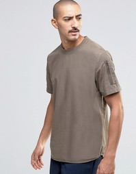 ASOS Short Sleeve Mlitary Shirt With Sleeve Pocket In Khaki In Regular
