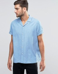 ASOS Drape Oversized Denim Shirt In Mid Wash With Revere Collar