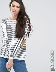 ASOS TALL Jumper in Stripe with Oval Tan Elbow Patch