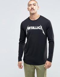 ASOS Metallica Longline Long Sleeve T-Shirt With Curved Hem - Черный