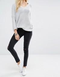 Рваные укороченные джинсы Noisy May Lucy - Черный