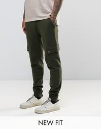 ASOS Skinny Joggers In Dark Khaki With Cargo Pockets