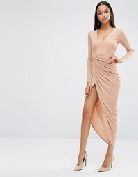 Club L Plunge Neck Maxi Dress With Wrap Skirt - Macaroon caramel