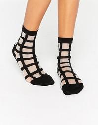 Прозрачные носки с решетчатым принтом Monki - Черный